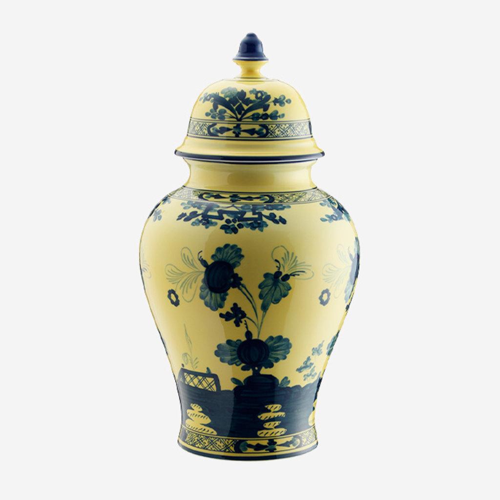 RICHARD GINORI  Oriente Italiano Citrino Grand Vase Potiche avec Couvercle - Jaune et Bleu