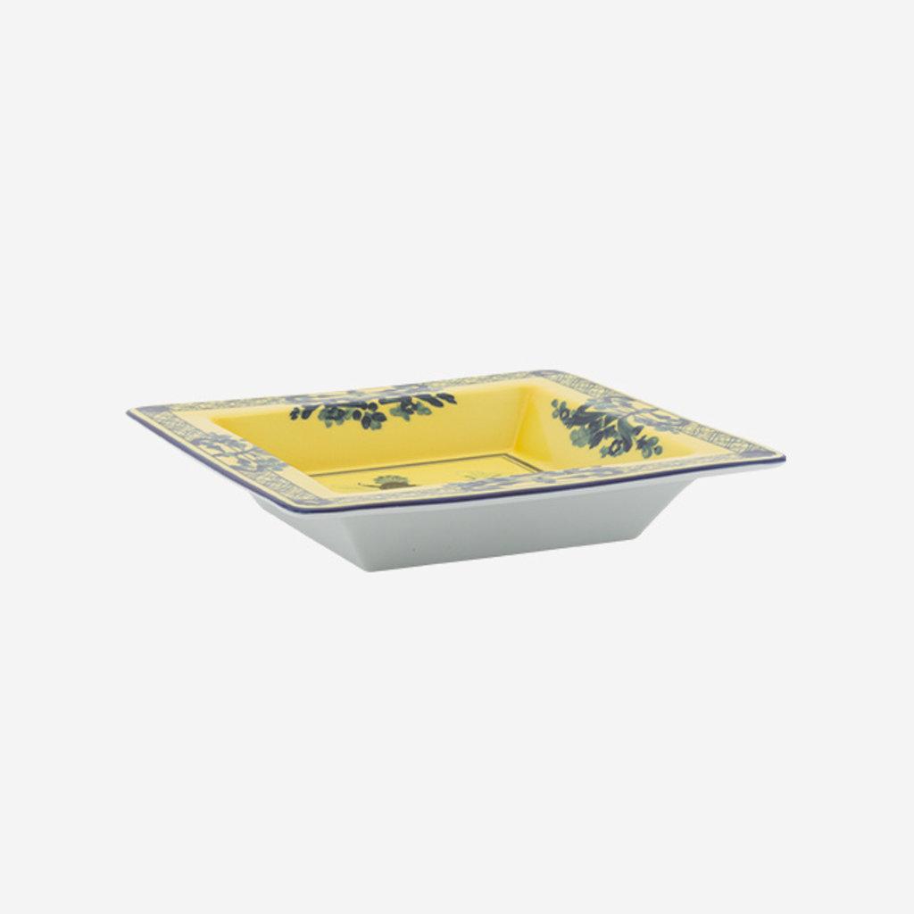 RICHARD GINORI Oriente Italiano Citrino Small Square Vide Poche - Yellow & Blue