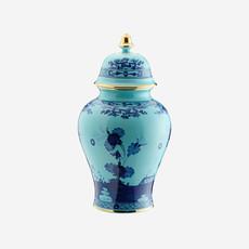 RICHARD GINORI  Oriente Italiano Iris Potiche Small Vase with Lid - Blue