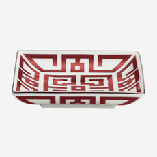 RICHARD GINORI  Labirinto Scarlatto Square Tray - Red & White