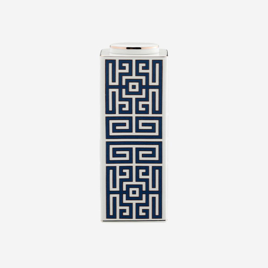 RICHARD GINORI  Labirinto Zaffiro Small Rectangular Vase with Lid - Blue & White