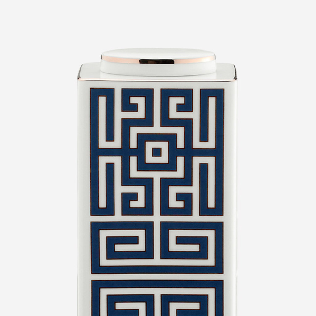 RICHARD GINORI  Labirinto Zaffiro Petit Vase Rectangulaire avec Couvercle - Bleu & Blanc