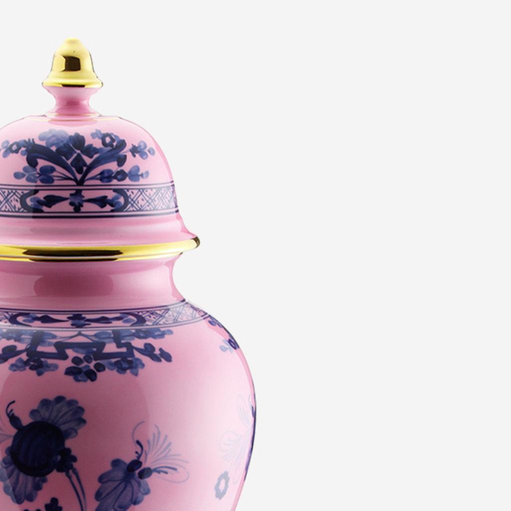 RICHARD GINORI  Oriente Italiano Azalea Grand Vase Potiche avec Couvercle - Rose & Bleu