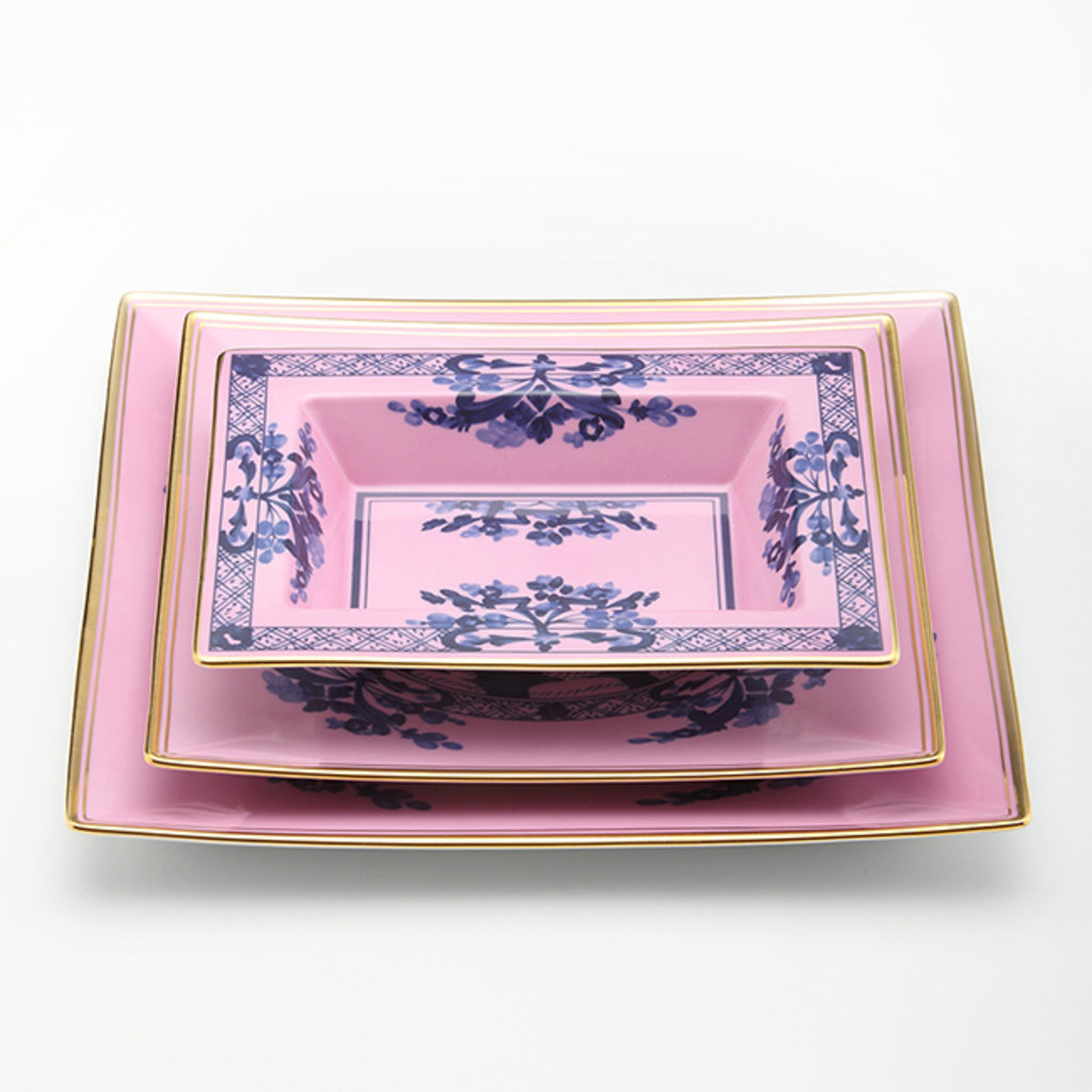 RICHARD GINORI  Oriente Italiano Azalea Vide Poche Rectangulaire - Rose & Bleu