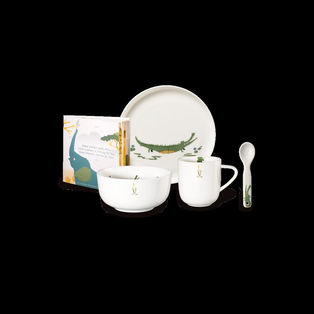 ASA GERMANY  Croco Crocodile Set de vaisselle 5 pièces pour enfants - Blanc