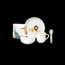ASA GERMANY  Ensemble de vaisselle pour enfants Leo Lion 5 pièces - Blanc