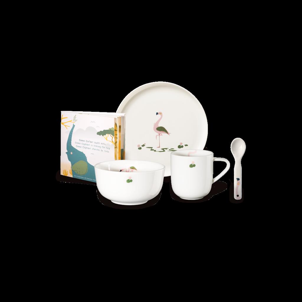 ASA GERMANY Fiona Flamingo 5 Pcs Tableware Set for Kids - White