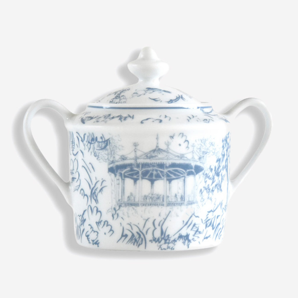 BERNARDAUD Tout Paris Sugar Bowl - White & Blue
