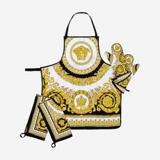 VERSACE HOME Crete De Fleurs 5 PC Kitchen Linen Set - White, Gold & Black