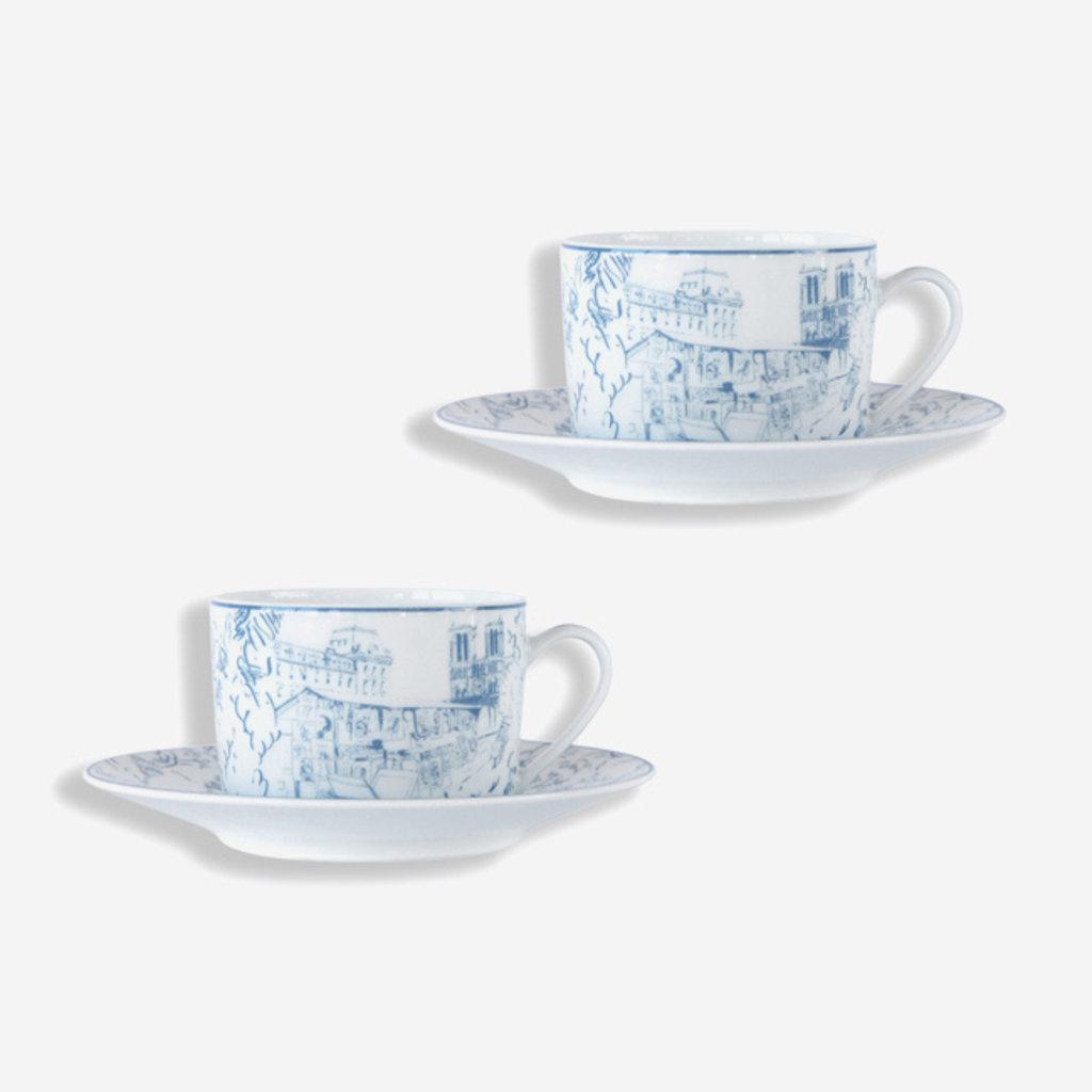 BERNARDAUD  Tout Paris Tasse à thé et soucoupe - Lot de 2 - Blanc et Bleu