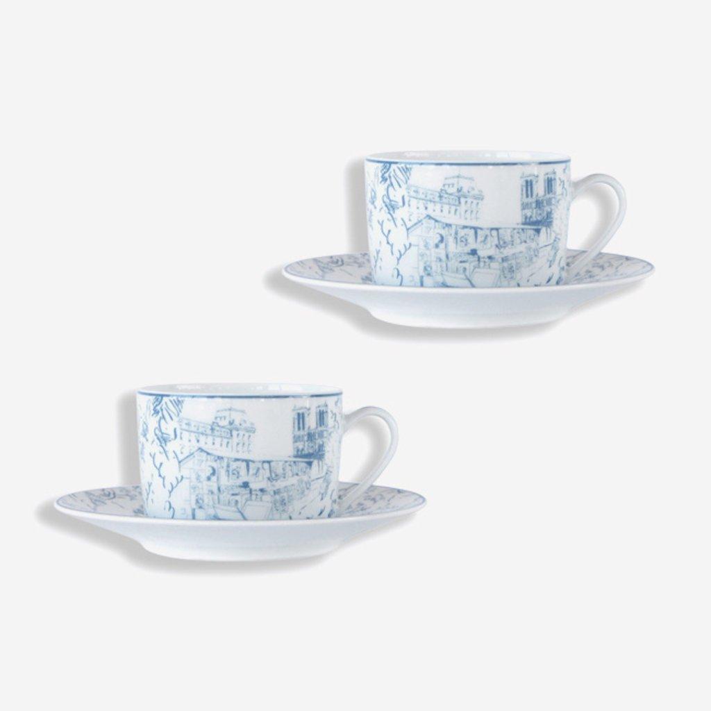 BERNARDAUD Tout Paris Teacup & Saucer - Set of 2 - White & Blue