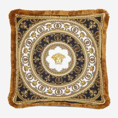 VERSACE HOME Coussin en soie Barocco - Noir, or et blanc