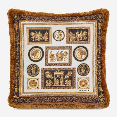 VERSACE HOME Cornici Silk Cushion - Black, Gold & White