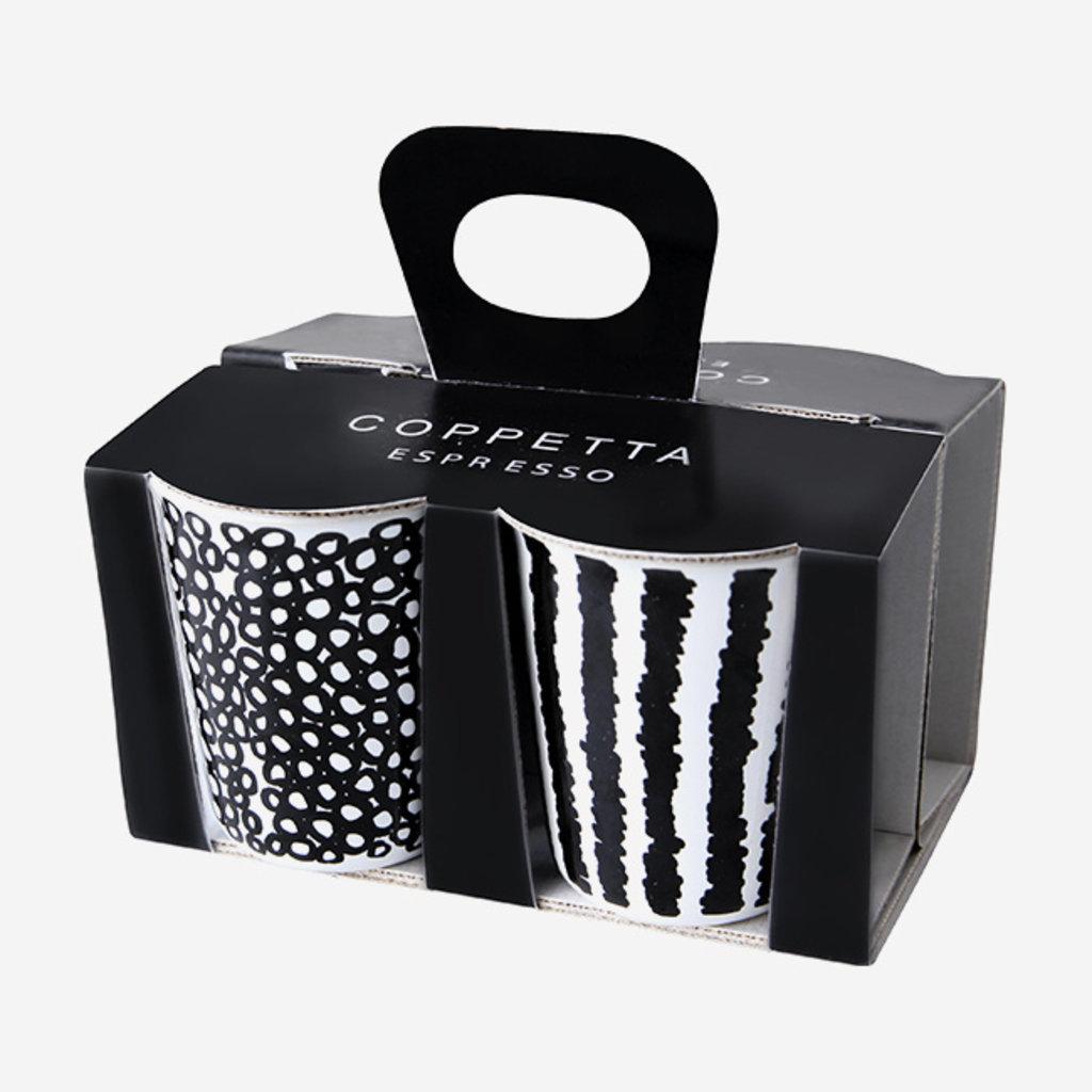 ASA GERMANY Tasses à espresso  Coppetta - Lot de 4 - Noir et blanc