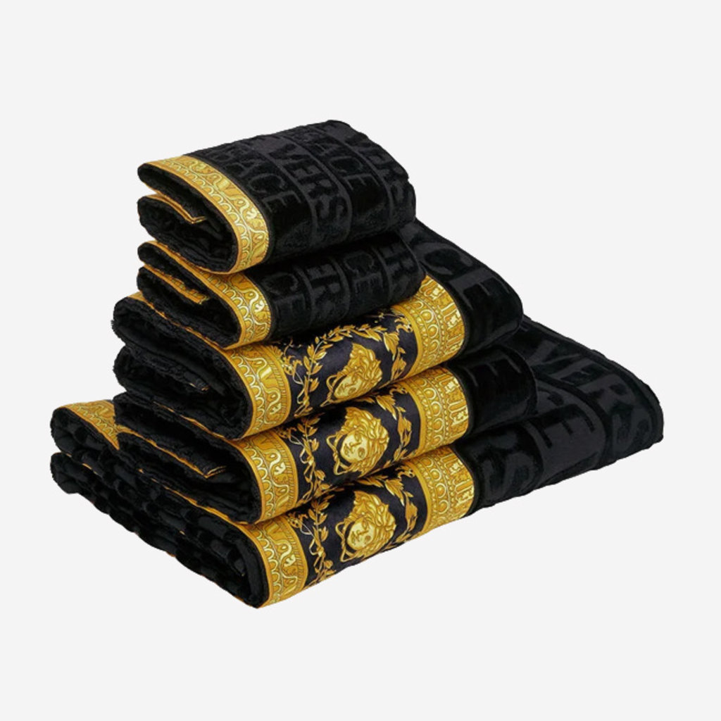 VERSACE HOME I Love Baroque Bath Towel Set of 5 - Black & Gold