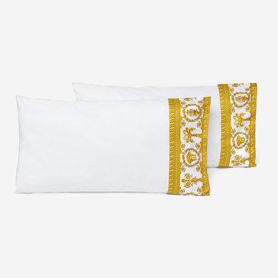 VERSACE HOME I Love Baroque Trim Pillow Sham Set of 2 - King Size - White & Gold