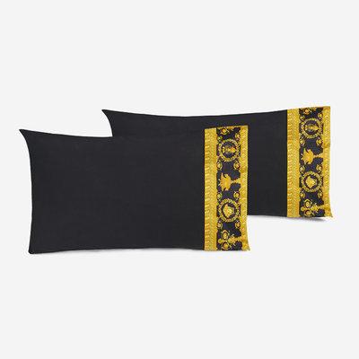 VERSACE HOME I Love Baroque Housse d'Oreiller avec bordure Lot de 2 - Taille King - Noir & Or