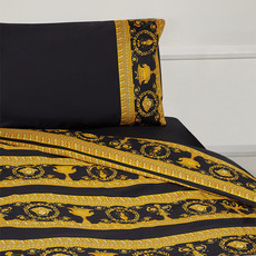 VERSACE HOME I Love Baroque Trim Pillow Sham Set of 2 - Queen Size - Black & Gold