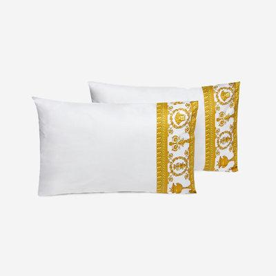 VERSACE HOME I Love Baroque Housse d'Oreiller avec bordure lot de 2 - Taille Queen - Blanc & Or