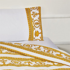 VERSACE HOME I Love Baroque Trim Pillow Sham Set of 2 - Queen Size - White & Gold