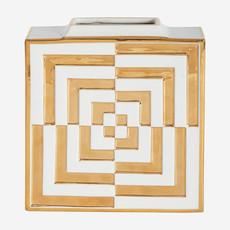 JONATHAN ADLER Vase carré  Futura Op Art - Blanc et or