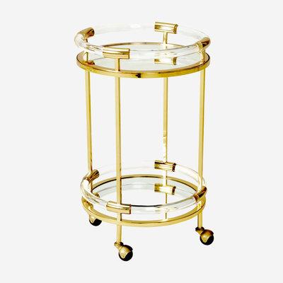 JONATHAN ADLER Jacques Round Bar Cart - Gold, Clear