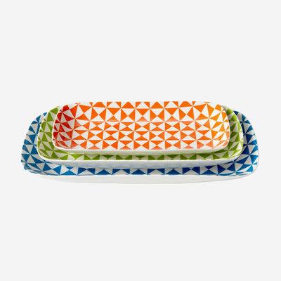 JONATHAN ADLER Carnaby Nesting Dishes Set Of 3 - Orange, Green, Blue