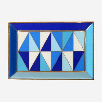 JONATHAN ADLER Sorrento Rectangle Tray - Blue/White