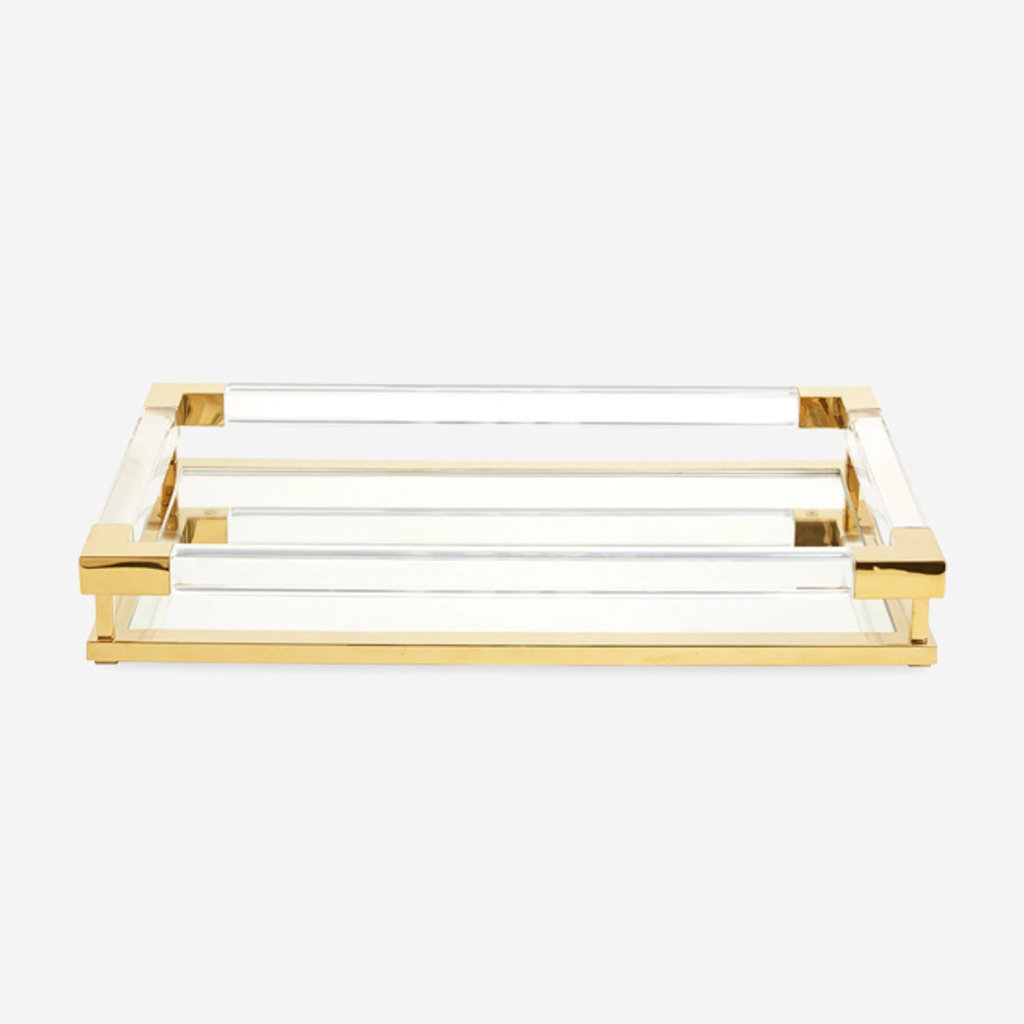 JONATHAN ADLER Jacques Tray Small Brass / Clear