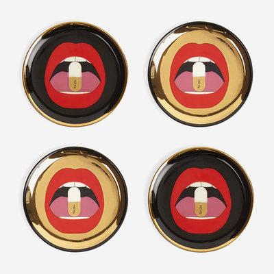 JONATHAN ADLER Full Dose Coasters Set - Black, Gold