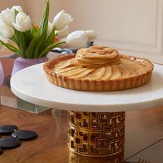 JONATHAN ADLER  Présentoir à gâteaux Nixon Marbre blanc / or