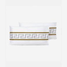 VERSACE HOME La Coupe Des Dieux Pillow Sham Set of 2 - Queen Size - White, Gold & Grey
