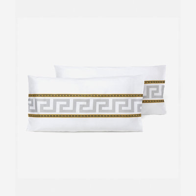 VERSACE HOME VERSACE Home Greca Pillow Cases Set of 2 - Queen Size - White, Gold & Grey