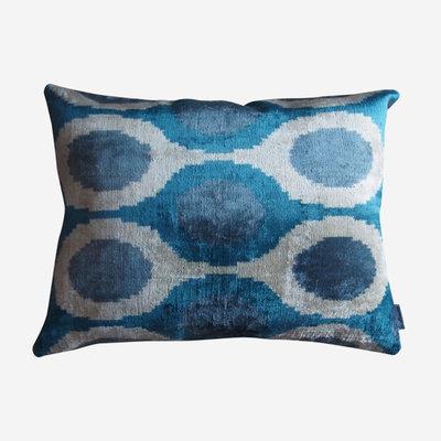 LES OTTOMANS Coussin double face en velours de soie - Bleu, blanc  40x60