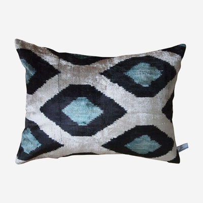 LES OTTOMANS Silk Velvet Double Sided Cushion - Blue, White  40x60