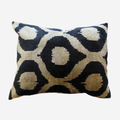LES OTTOMANS Silk Velvet Double Sided Cushion - Black, White  40x60