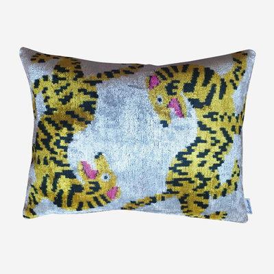 LES OTTOMANS Silk Velvet Double Sided Cushion - Yellow, White  40x60