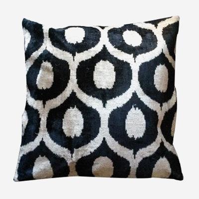 LES OTTOMANS Silk Velvet Double Sided Cushion - Black, White  50x50