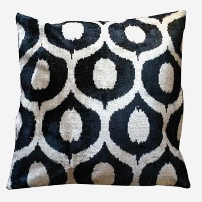 LES OTTOMANS Silk Velvet Double Sided Cushion - Black, White  60x60