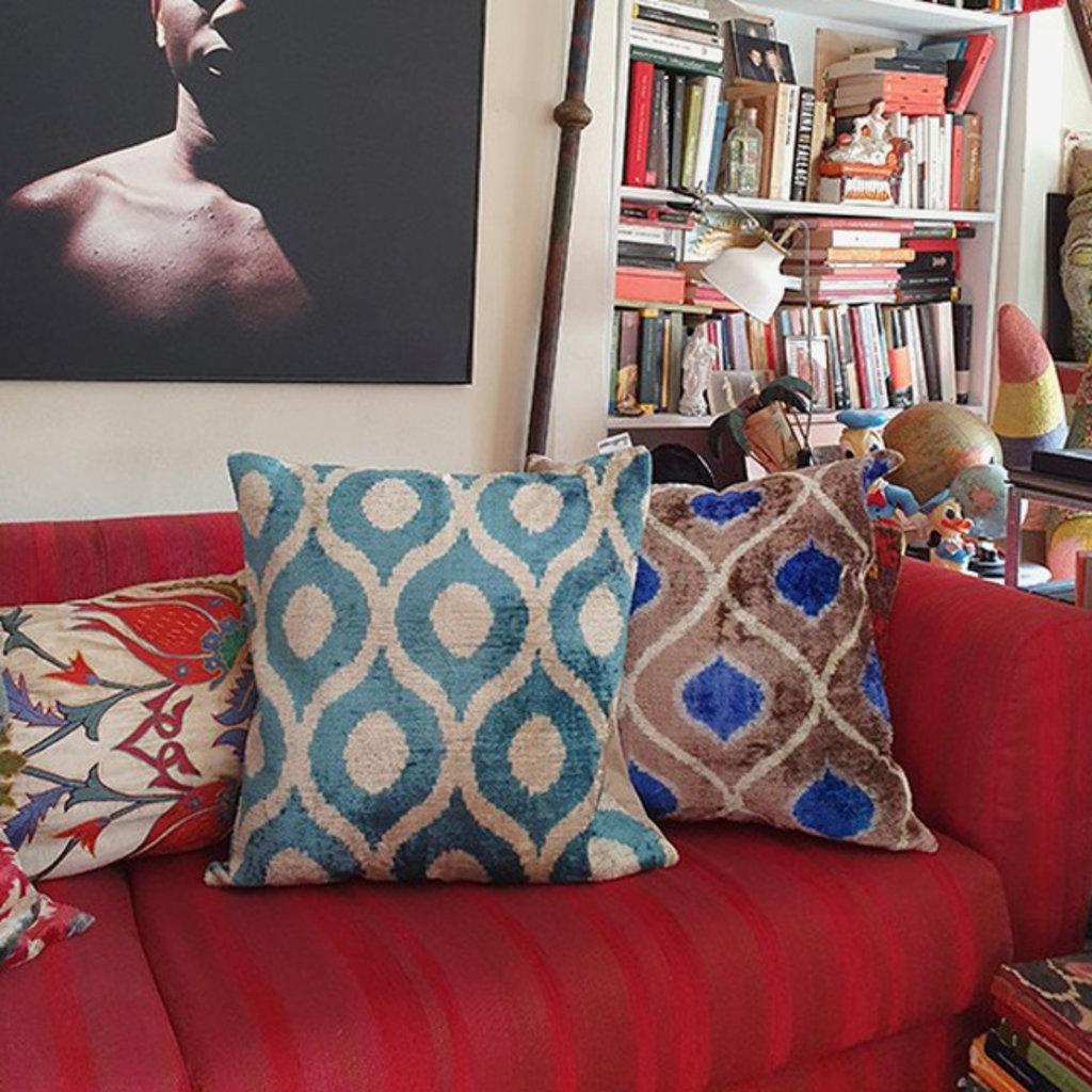 LES OTTOMANS Silk Velvet Double Sided Cushion - Blue, White  50x50