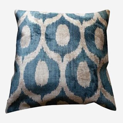 LES OTTOMANS Silk Velvet Double Sided Cushion - Blue, White  60x60