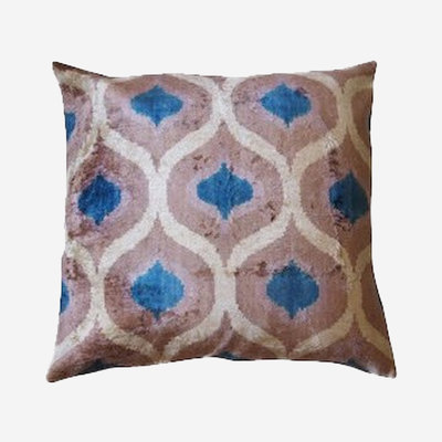 LES OTTOMANS Silk Velvet Double Sided Cushion - Blue, White, Grey  50x50
