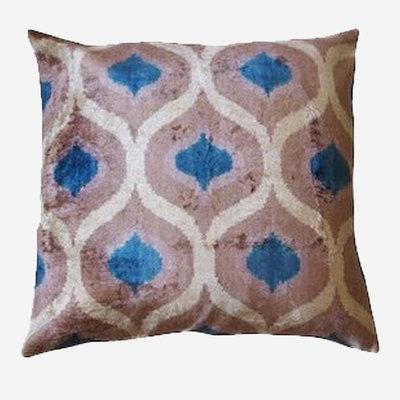 LES OTTOMANS Silk Velvet Double Sided Cushion - Blue, White, Grey  60x60
