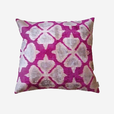 LES OTTOMANS Silk Velvet Double Sided Cushion - Pink, White  50x50