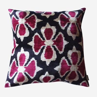 LES OTTOMANS Silk Velvet Double Sided Cushion - Pink, Black  60x60