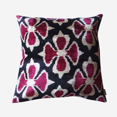 LES OTTOMANS Silk Velvet Double Sided Cushion - Pink, Black  50x50
