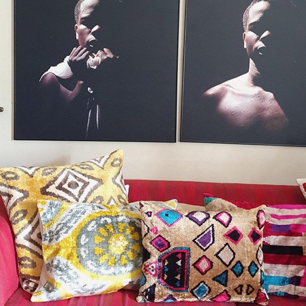 LES OTTOMANS Silk Velvet Double Sided Cushion - Yellow, White  50x50