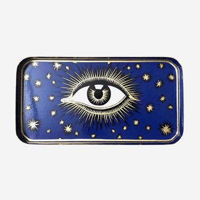 LES OTTOMANS Eye Metal Tray - Blue 32x17