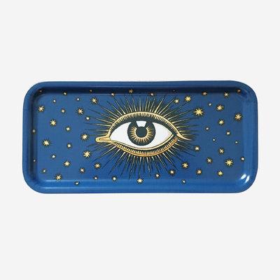 LES OTTOMANS Eye Metal Tray - Blue 27.5x13.5