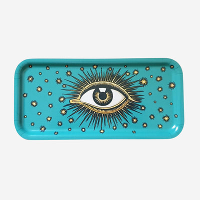 LES OTTOMANS Eye Metal Tray - Turquoise 27.5x13.5